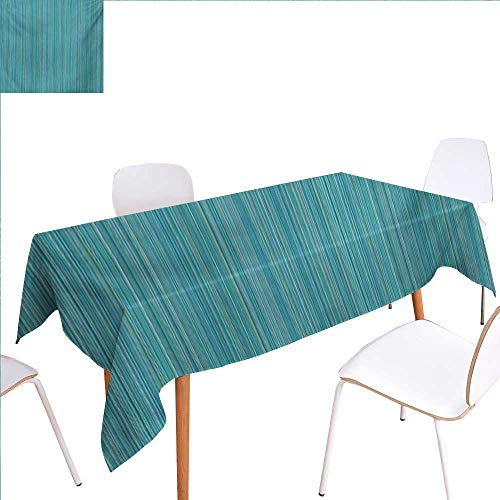 familytaste Teal Patterned Tablecloth Vertical Stripes Lines Ethnic Dress Fabric Patterns Contemporary Design Illustration Dust-Proof Oblong Tablecloth 52