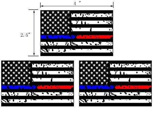 [해외]3PCS 경찰과 소방청 파란색 빨간색 라인 미국 국기 스티커 자동차 스티커 4 x2.5 3M 소재/3PCS Police and Fire Dept. Blue Red Line American Flag Sticker   C
