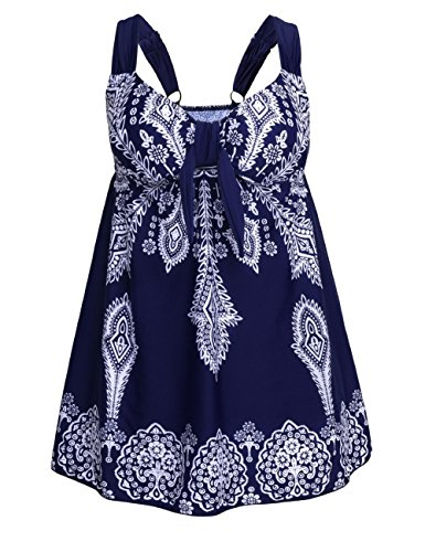 Septangle Women's Plus-Size Swimsuit Floral Print Two Piece Tankini Swimwear Swimdress Cyan Blue 22W