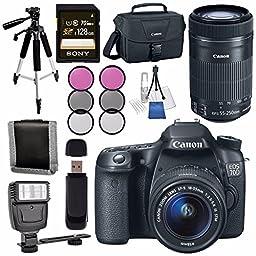 Canon EOS 70D DSLR Camera with 18-55mm STM Lens + Canon EF-S 55-250mm Lens + Canon 100ES EOS Shoulder Bag Bundle