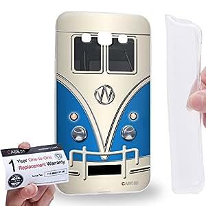 Case88 [Samsung Galaxy E7] Gel TPU Carcasa/Funda & Tarjeta de garantía - Art Fashion Blue Retro Bus Mini Van Art1200