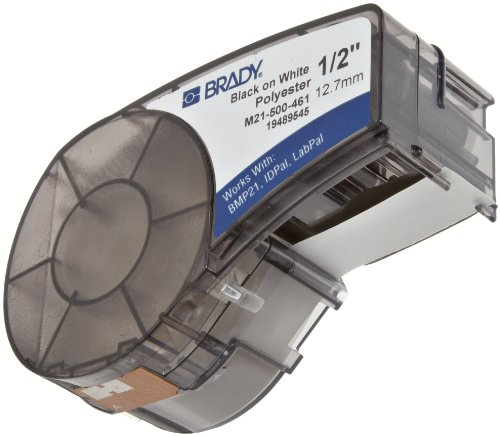 Brady M21-500-461 0.5'' Width, 21' Height Polyester B-461 Labels For BMP 21 Mobile Printer And LABPAL Label Printer by Brady