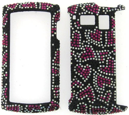 FULL DIAMOND CRYSTAL STONES COVER CASE FOR SANYO INCOGNITO 6760 HOT PINK HEARTS - Faceplates Sanyo Hard