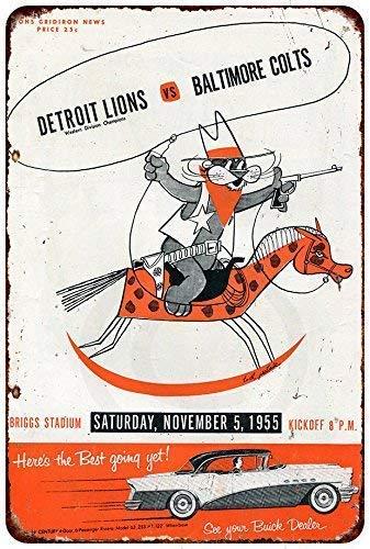 Nice Tin Sign Aluminum Retro 1955 Detroit Lions Vs Baltimore Colts Vintage Metal Sign 8 X 12 Inch