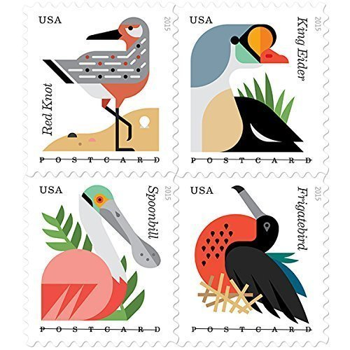 Coastal Birds Roll of 100 Postcard Rate Stamps by USPS