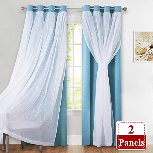 PONY DANCE Bedroom Light Blocking Curtain Panels - Sheer Crushed Voile Mix & Match Thermal Insulated Grommet Top Teal Blackout Drapes, 52-inch by 84-inch, Light Blue, Set of 2 -