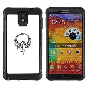 Paccase / Suave TPU GEL Caso Carcasa de Protección Funda para - Dragon White Tattoo Ink Minimalist - Samsung Note 3
