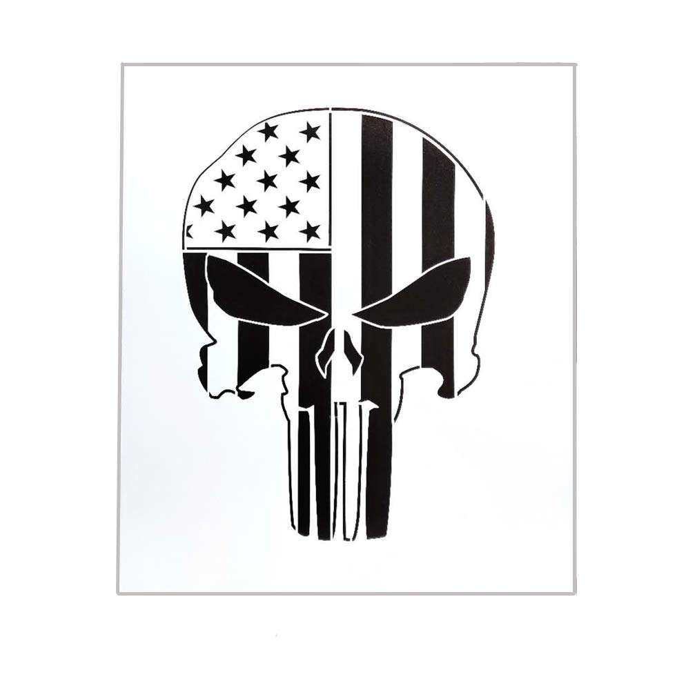 OBUY Punisher Skull Stencil for Painting on Wood, Walls, Fabric, Airbrush, More | Reusable 12 x 14 inch Mylar Template