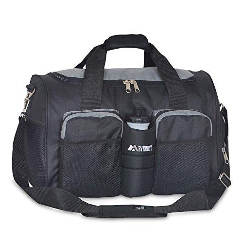Everest Gym Bag with Wet Pocket, Dark Gray/Black