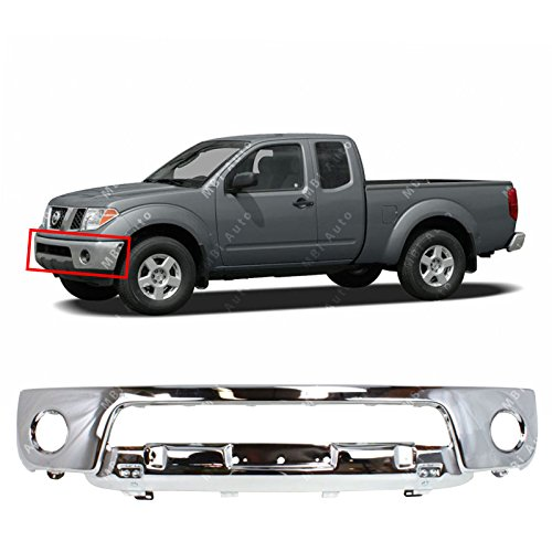 MBI AUTO - Chrome, Steel Front Bumper Face Bar Fascia for 2005 2006 2007 2008 Nissan Frontier Pickup W/Fog Light Holes 05-08, NI1002138 - Nissan Pickup Replacement Bumper