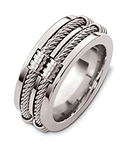 Mens 14K White Gold Double Cable 95MM Wedding Band Amazoncom