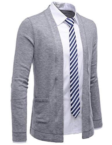 NEARKIN (NKNKCAC5) Open Front Daily Look Buttonless Knitwear Cardigan Sweaters GRAY US S(Tag size S) (Button Cardigan Toggle Sweater)