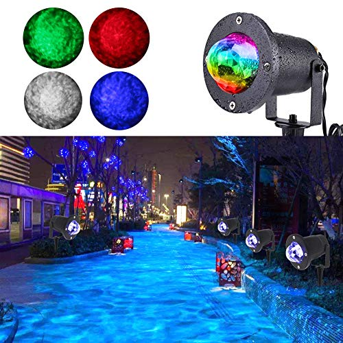 KOOT Water Wave Garden Light, 10 Multi Colors Christmas Halloween Outdoor Light Projector Water Effect or Flame Fire Effect Waterproof with Remote for Landscape Party Wedding Holiday -