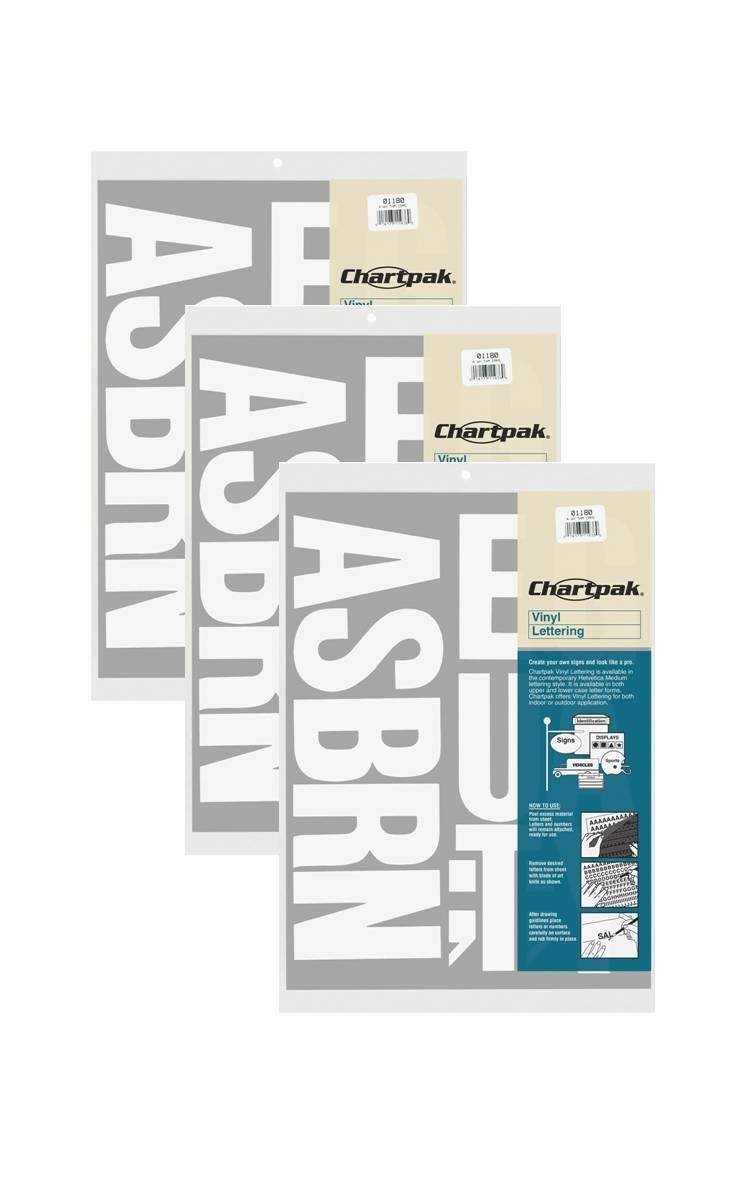 Chartpak 4-inch White Stick-on Vinyl Letters & Numbers (01180), 3 PACKS