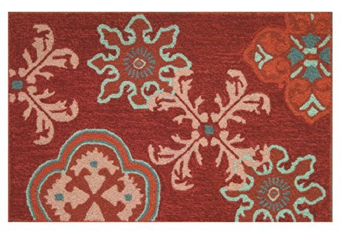 Homefires Accents Indoor Rug, 22 by 34-Inch, Crimson Stamps by Homefires Accents - Crimson Accent