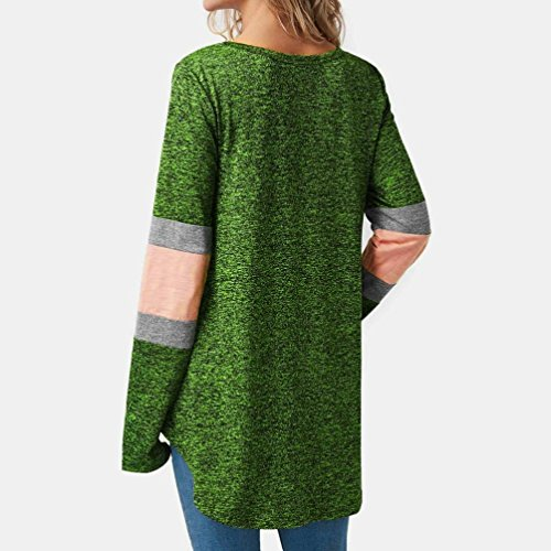 Blouse Vert Shirt Longues T Chemisier Patchwork Bringbring ray Manches Hem Femme incurv TEaqx