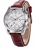 Ks Imperial Series Men's Day Date Automatic Mechanical Brown Leather Band Wrist Watch KS171