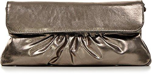 CNTMP - bolso para señora, clutch, bolso clutch,bolso de cuero metálico, bolsos de tendencia, bolsas, bolso de fiesta, bolso de mano, 31 x 15 x 2, 5 cm (l x an x a) gris