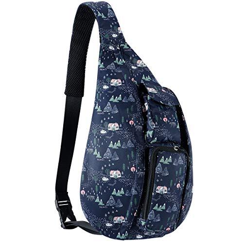 URSOFINE Unisex Sling Bag Crossbody Backpack Travel Daypack with Adjustable Shoulder Strap for Women Men Girls Boys (Fairy Forest)