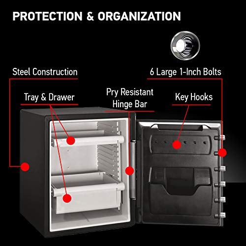 SentrySafe SFW205CWB Fireproof Waterproof Safe with Dial Combination, 2.05 Cubic Feet, Black