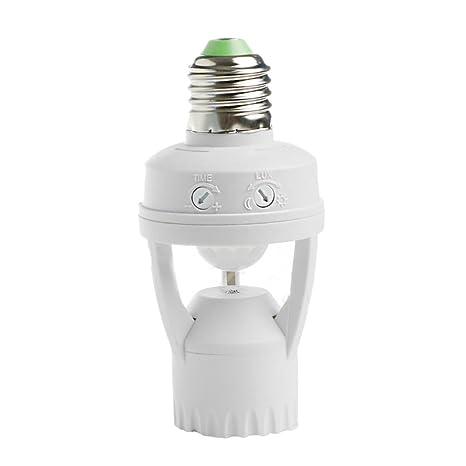 Sensor de movimiento por infrarrojos con enchufe PIR automático de luces LED interruptores E27 lámpara soporte