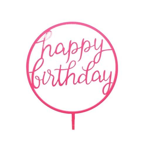 Uokoki Regalos Redonda Fiesta de cumpleaños de la Boda Adorno de Torta Postre Insertar niños del palillo Feliz cumpleaños Decorativo Topper