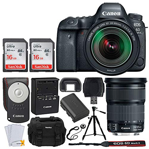 (Canon EOS 6D Mark II DSLR Camera + EF 24-105mm f/3.5-5.6 is STM Lens + 32GB Memory Card + Canon RC-6 Wireless Remote + Photo4Less DC59 Gadget Bag + Quality Tripod + USB Card Reader - Complete Bundle)