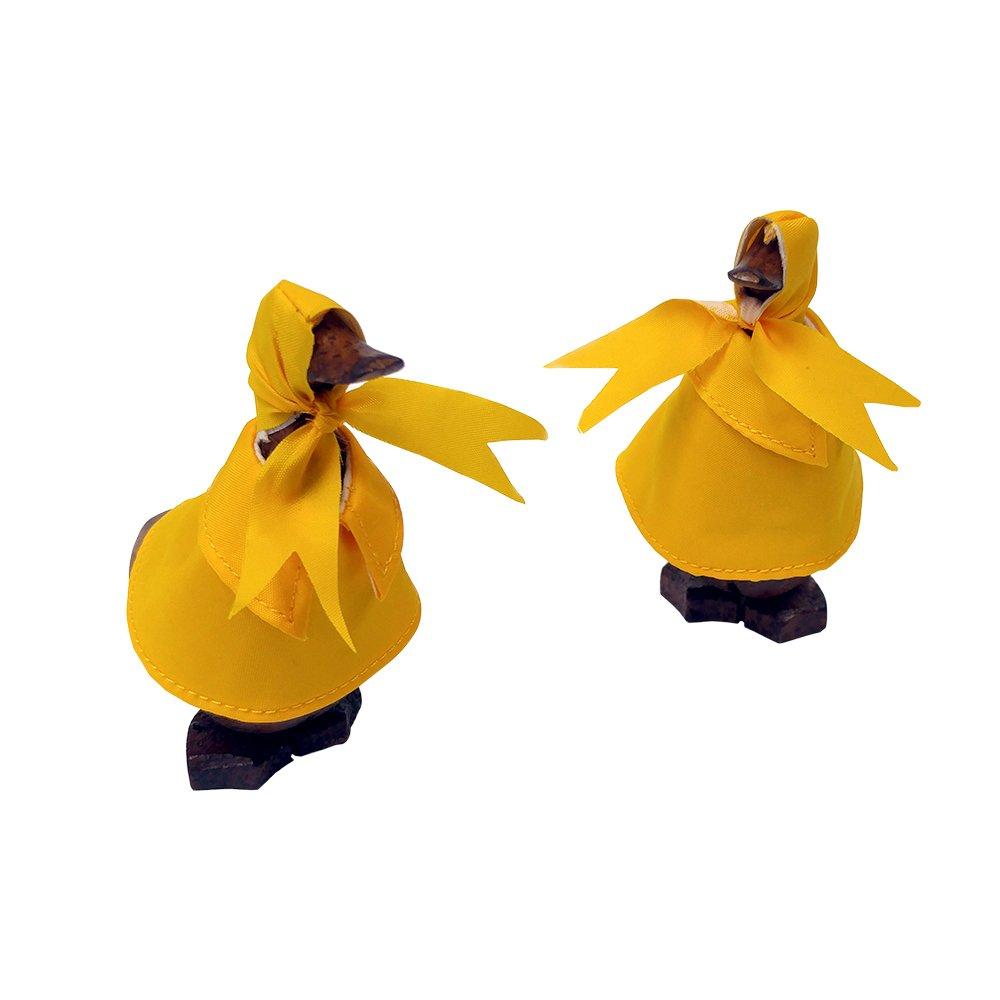 天然手彫りハンドメイド木製雨Duck竹ルートLawn Ornament ブラウン ASBM201-2SB B00AAIC3GG Super Baby Set of 2
