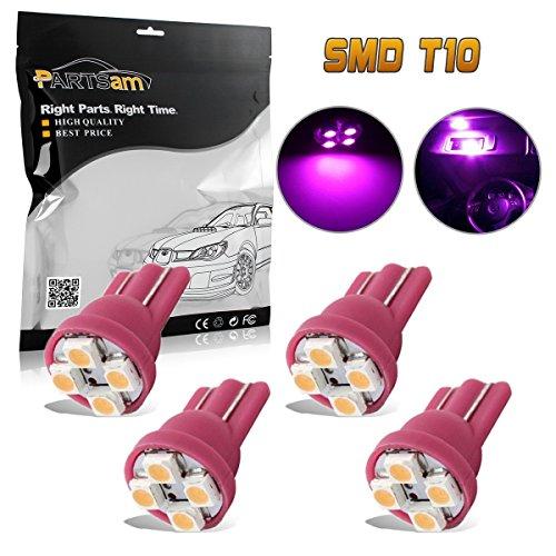 Partsam 4pcs Pink Purple T10 Miniature Wedge PC194 168 W5W LED Light Bulb 4-SMD Instrument Panel Gauge Cluster Dash Lighting Indicator Lamps (Miniature Purple)