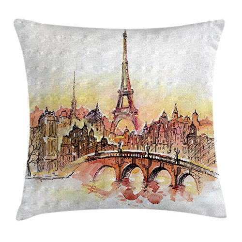 Ambesonne Eiffel Tower Throw Pillow Cushion Cover, France Theme Design Urban Decor Sunset in Paris Illustration Print, Decorative Square Accent Pillow Case, 16 X 16 Inches, Yellow and Dark Orange (Accents Decor Paris)