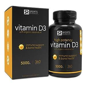 Sports Research Vitamin D3 (5000iu) with Coconut Oil, 360 Liquid Softgels