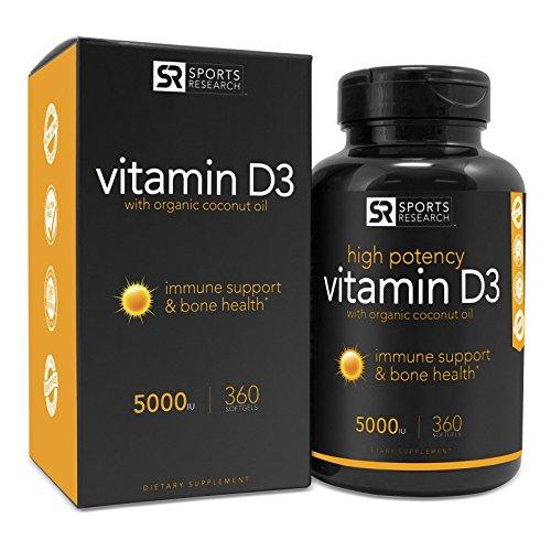 Sports Research Vitamin D3 (5000iu) with Coconut Oil, 360 Liquid Softgels 514pdLPOFfL