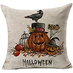 4TH Emotion Halloween Crow Stands On the Pumpkin Home Decor Design Throw Pillow Cover Pillow Case 18 x 18 Inch Cotton Linen for Sofa