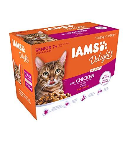 IAMS Delights Senior Katzenfutter Nass – Multipack mit Huhn in Sauce, hochwertiges Nassfutter für ältere Katzen ab 7…