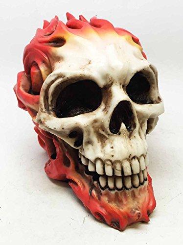 Hot Rod Skull (TOM WOOD DEATH FIRE SKULL STATUE HOT ROD SKELETON DEATH GHOST RIDER FIGURINE)