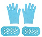 FOCUSAIRY Moisturizing Socks Skincare Gel Socks Gloves Set for Dry Hard Cracked Heel Feet and Hands (Blue)