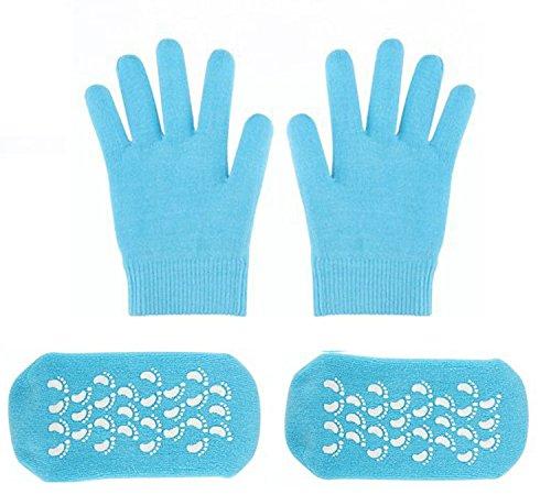 FOCUSAIRY Moisturizing Socks Skincare Gel Socks Gloves Set for Dry Hard Cracked Heel Feet and Hands (Blue) by FOCUSAIRY