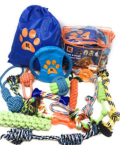BK PRODUCTS LLC Dog Toys - Dog Rope Toys - Chew Toy for Puppy Small and Medium Dogs - Puppy Chew Toys - Dog Toy Pack - Set of 13 Chew Toys and Teething Toys with Bonus Storage Bag
