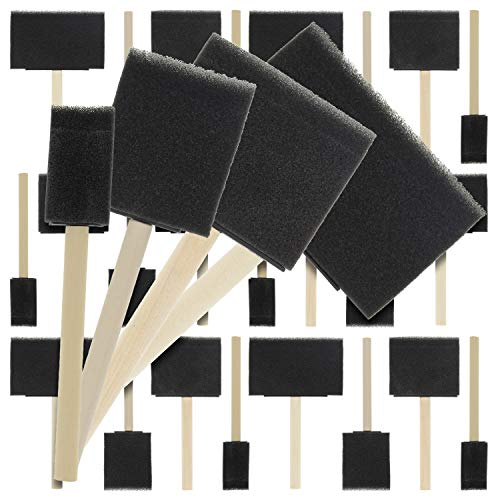 US Art Supply Variety Pack Foam Sponge Wood Handle Paint Brush Set (Value Pack of 20 Brushes) - Lightweight, durable and great for Acrylics, Stains, Varnishes, Crafts, Art