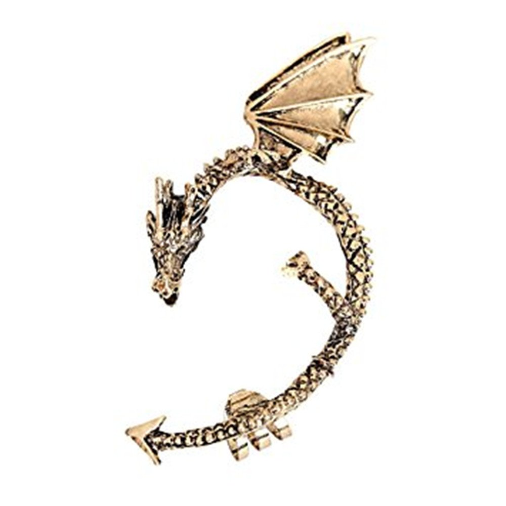 Dragon Electroplating Alloy Earring Ear Clip Unisex Stainless Steel Adjustable Anti-Allergic Phantom Earring (Bronze) Qiqilei