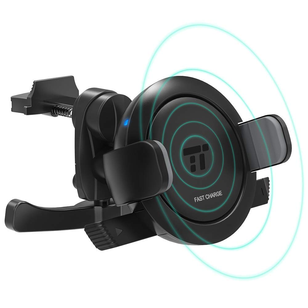 TaoTronics Vent Phone Holder for Car, Car Phone Mount with 7.5W/10W Fast Wireless Charging Compatible with iPhone XR XS Max X 8 Plus, Galaxy S9 S8 S7 & Qi-Enabled Device (Renewed)