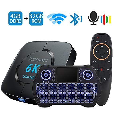 TV Box Android 9.0 Smart TV Box Set Top Box 4GB RAM 32GB ROM with Voice Remote Control Backlit Wireless Mini Keyboard USB 3.0 Ultra HD 4K 6K HDR Dual Band WiFi 2.4 5.8GHz BT4.1 Streaming Media Player