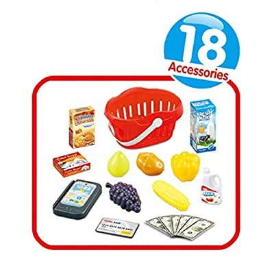IQ Toys Toy Cash Register Pretend Play 2 in 1 Electronic Touch Screen Checkout Scanner with 18 Supermarket Shopping and Kitchen Set Accessories for Kids Girls and Boys: Toys & Games