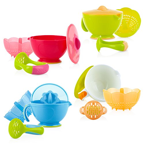 Nuby Garden Fresh Steam N' Mash Baby Food Prep Bowl and Food Masher, Colors May Vary from Nuby