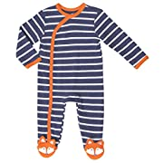 Asher and Olivia Baby Boys' One-Piece Footies Fox Long-Sleeve Fox Footed Pajama Size 0-3 Month Navy