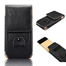 Outdoor Phone Case, Pershoo Multi-function Sports Storage Carry Pouch Belt Clip Waist Handbag PU Leather Purse, Running Hiking Cycling Vertical Belt Waist Bag Pack Cell Phone Side Pouch for iPhone X/8 Plus/7 Plus/6 Plus/6s Plus, Samsung Galaxy S8/S7 Edge/Note 2/J7 2016/J7 2015/J5 2016/J5 2017/A5 2017 - Black