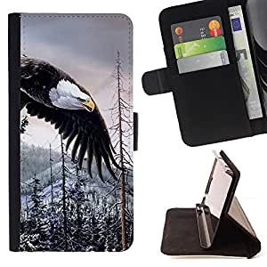 Bald Eagle American Alaska Wilderness - Painting Art Smile Face Style Design PU Leather Flip Stand Case Cover FOR LG G3 @ The Smurfs