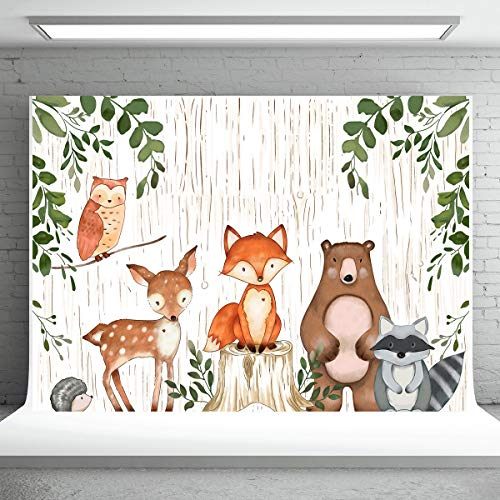Safari Jungle Birthday Backdrop 7X5FT Watercolor Animals Photography Backdrops Baby Shower Props Party Background Vinyl (Common Woodland Animals)