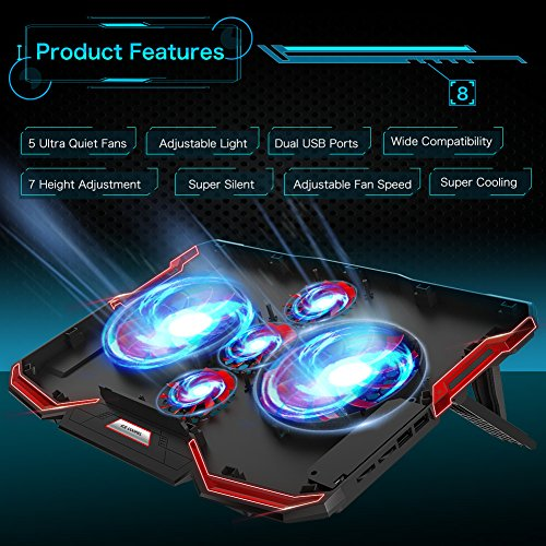 5 Fans Laptop Cooler, Portable Ultra-Slim Cooling Pad, with Red LED Light, Dual USB 2.0 Ports, Adjustable Mount Stand, Super Quiet and Strong Wind Speed Designed for Gamers and Office by Mkocean (Image #1)