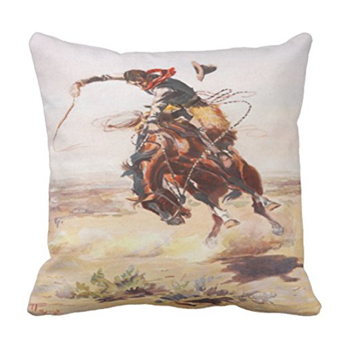 Emvency Throw Pillow Cover Vintage Wild West Cowboy On Bucking Horse Western Decorative Pillow Case Home Decor Square 18x18 Inch Cushion Pillowcase -